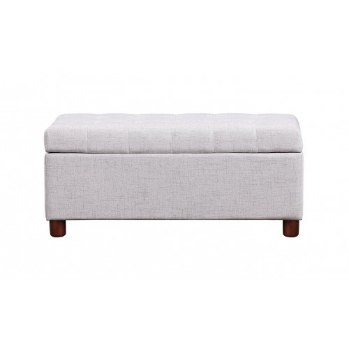 【USA in Stock】U_STYLE 39'' Storage Bench Tufted Linen Fabric Ottoman Storage Bench Beige , free dropshipping  out door furniture 2