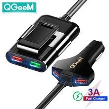 Автомобильное зарядное устройство QGEEM с 4 USB портами для iPhone, быстрая зарядка 3,0, автомобильное портативное зарядное устройство, молоток, передняя и задняя сторона, быстрая зарядка телефона QC3.0, автомобильное зарядное устройство