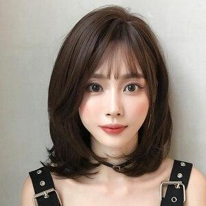 Длина плеча черная коричневая голова Окрашенный черный неотражающий синтетический парик с челкой для любимой женщины повседневная одежда ...