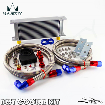 Universal New-style AN10 16 row oil cooler + thermostat Sandwich Plate kit