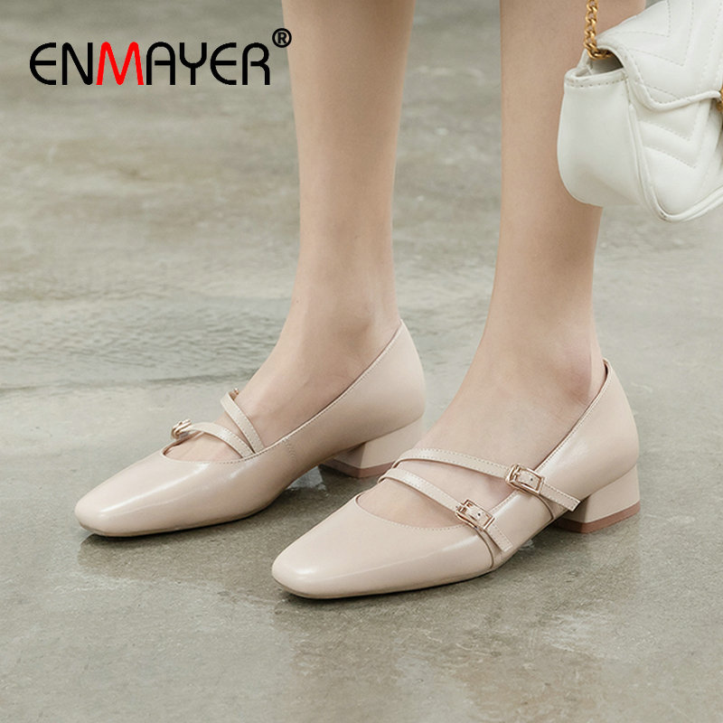 ENMAYER 2020 Sweet Mary Janes Genuine Leather Round Toe Womens Shoes Buckle Strap Square Heel Spring/Autumn Shoes Woman 34-39
