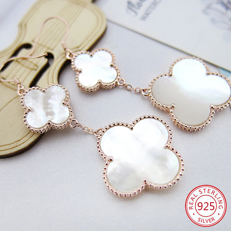S925 sterling silver earrings four-leaf clover female peacock green white fritillary Korean version simple Christmas gifts 2019