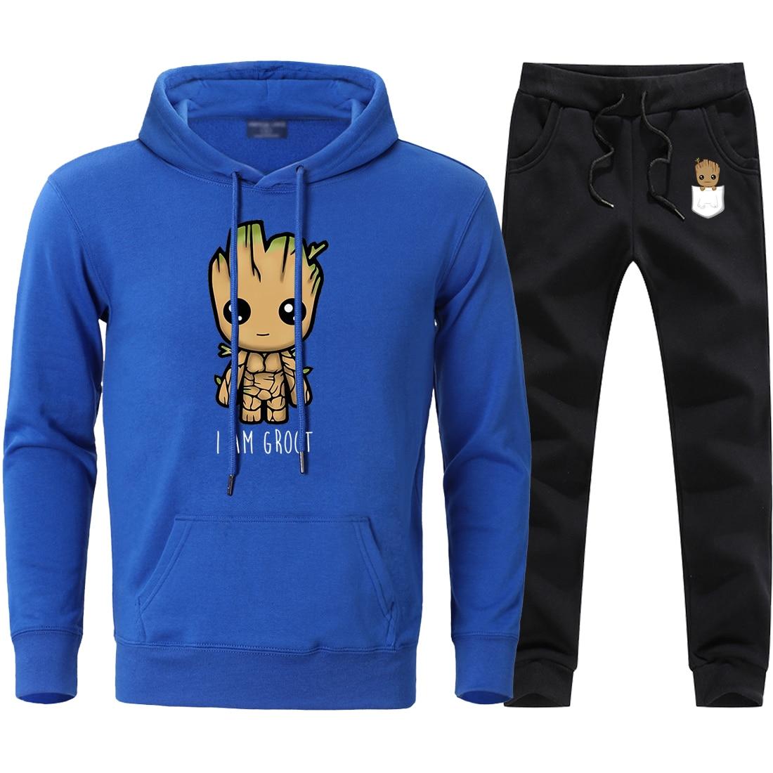 I Am Groot Print Mens Sets Autumn Winter Fleece Hoodies Sweatshirts + Sweatpants Sets 2020 Man Causal Tracksuits 2 Pieces Suits