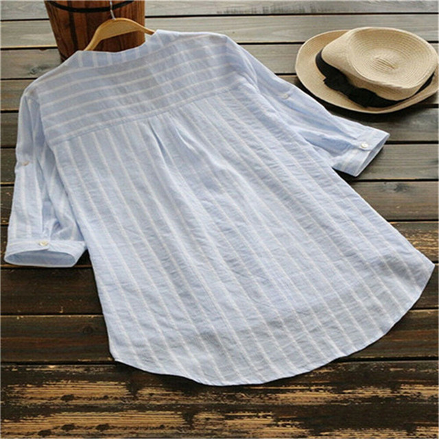 Women New Summer Striped V-Neck Blouses Loose Baggy Shirts and blouses Cotton and Linen Button Padding Tunic Blouses Plus Size 6