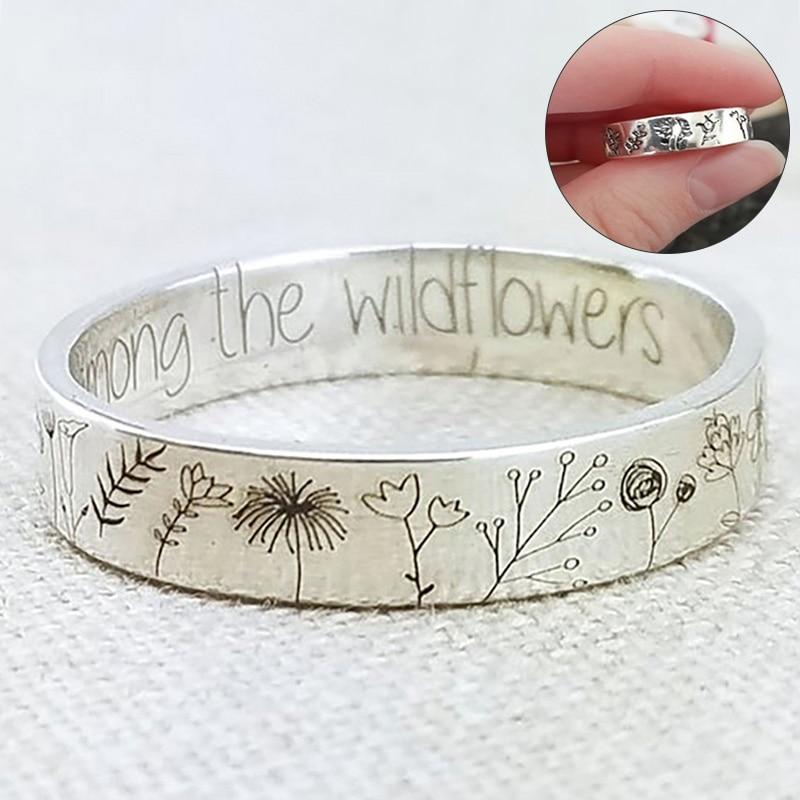 You Belong Among The Wildflowers Lettering Elegant Women Zinc Alloy Ring Carved Dandelion