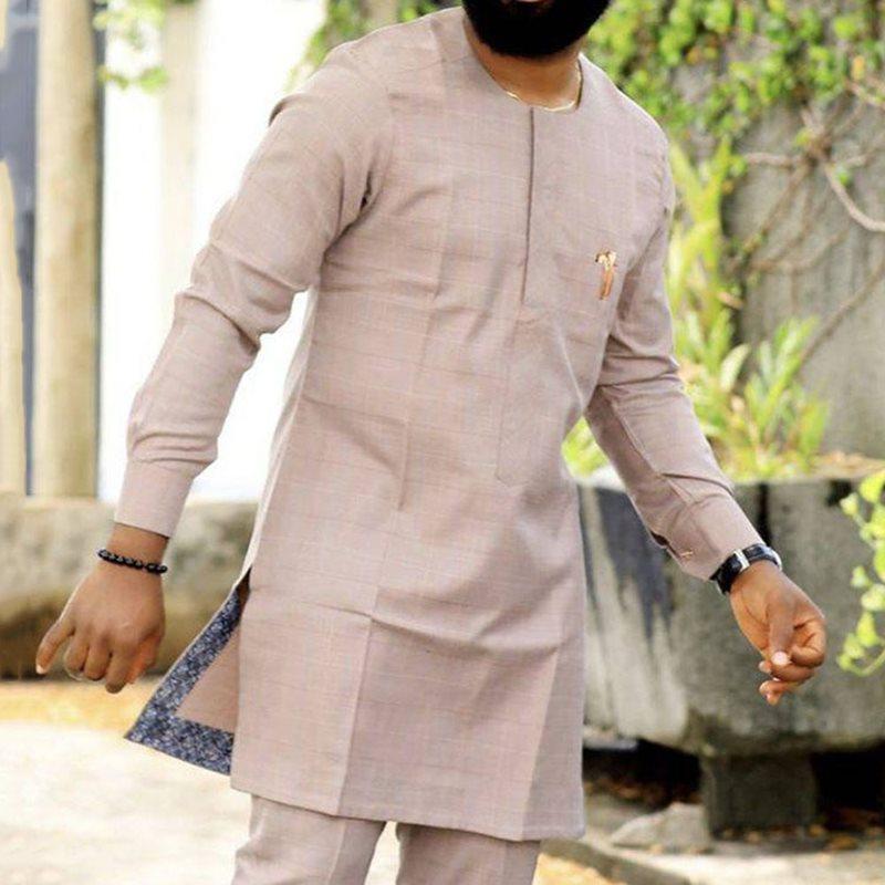 Dashiki Men Dress Fashion Print Long Sleeve Tops African Man Plaid Africa Style Bazin Riche African Clothes Dashiki Shirt For Me
