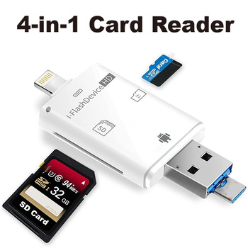 4 in 1 Card Reader Micro USB Adapter TF Micro SD Card Reader for Android ipad/iphone 7plus 6s5s MacBook