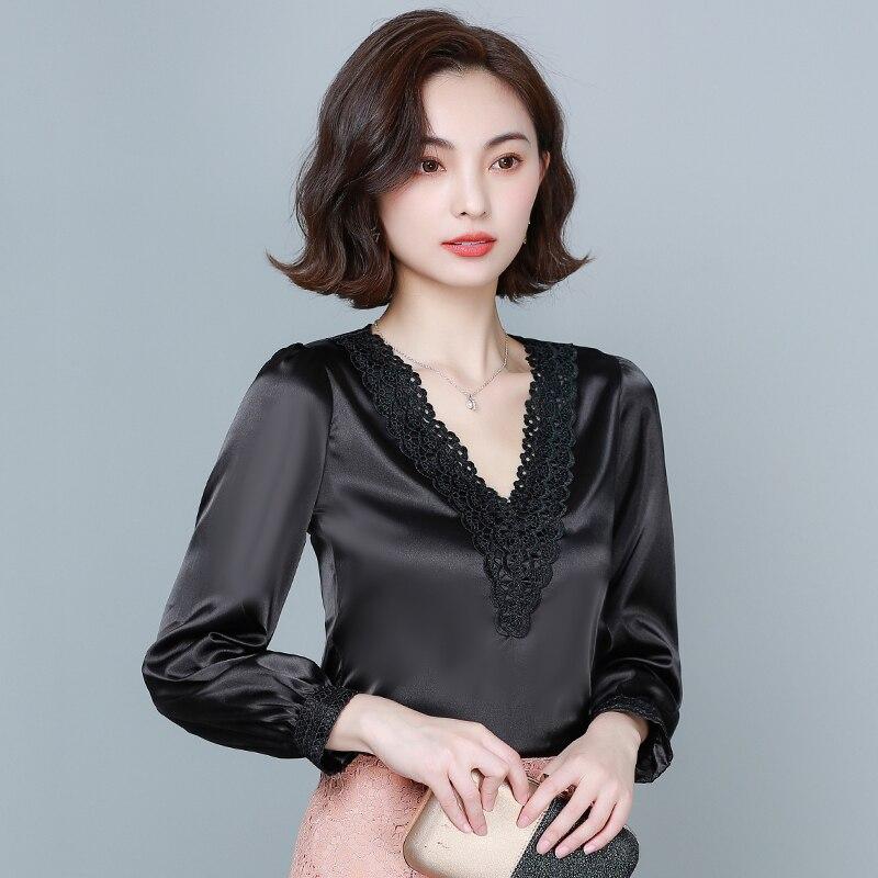 Silk Blouse Women Satin Embroidery Shirts Women Long Sleeves Shirts Ladies White Shirt Woman Satin Silk Blouses Tops Plus Size