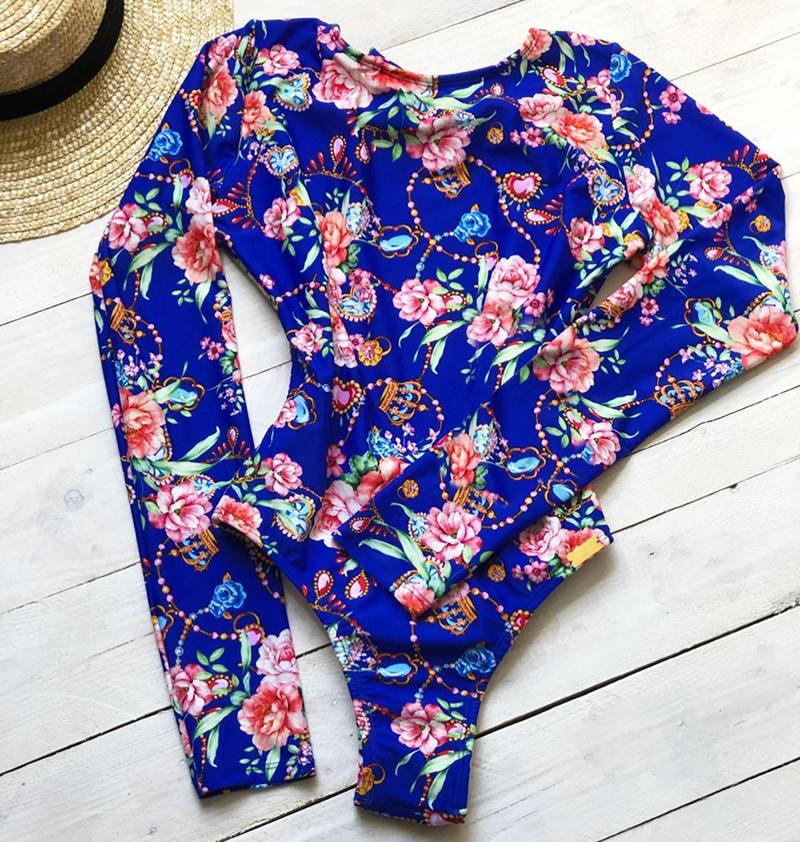 Женский слитный купальник с длинными рукавами, Цветочный купальник, монокини с тропическим принтом, открытая спина, фламинго, купальный костюм, боди Bain - Цвет: MAG18149B1