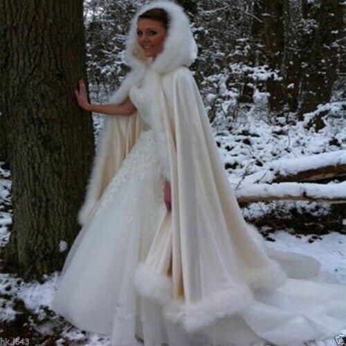 Ivory Faux Fur Wedding Coat Jacket Champagne Bridal Capes Modern Bride Cloak With Hood