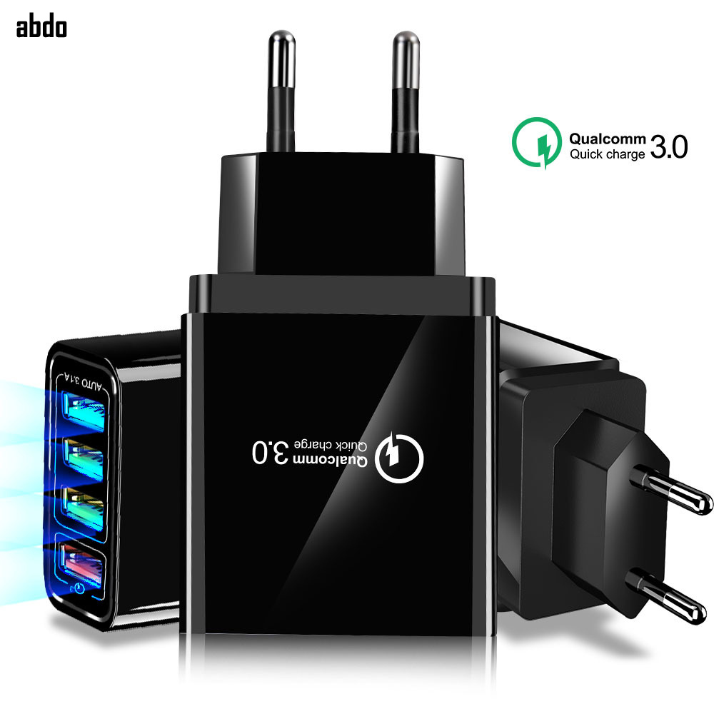 US $6.88 20% OFF|4 USB QC3.0 Quick Charger Mobile Phone Travel Charger EUUSUK Wall Plug Fast Charging Adapter For Apple iPhone XR XS X Max