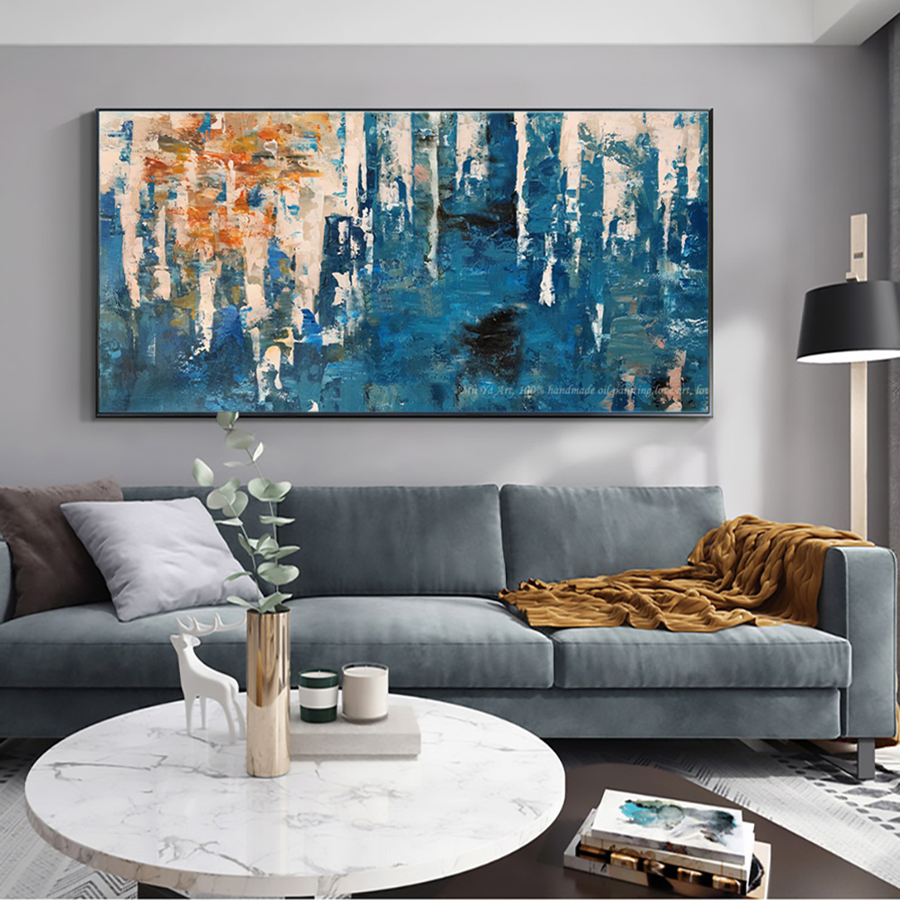 Abstract Painting Decor Wall Painting Living Room Blue Horizontal Modern Home Decoration 100 Handmade Oil Painting On Canvas Painting Calligraphy Aliexpress