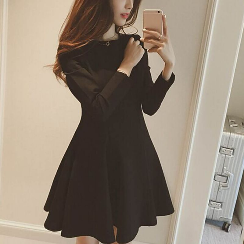 2020 Women O Neck Solid Sleeve Dress Loose Slim Casual Color Long Mini Stretch
