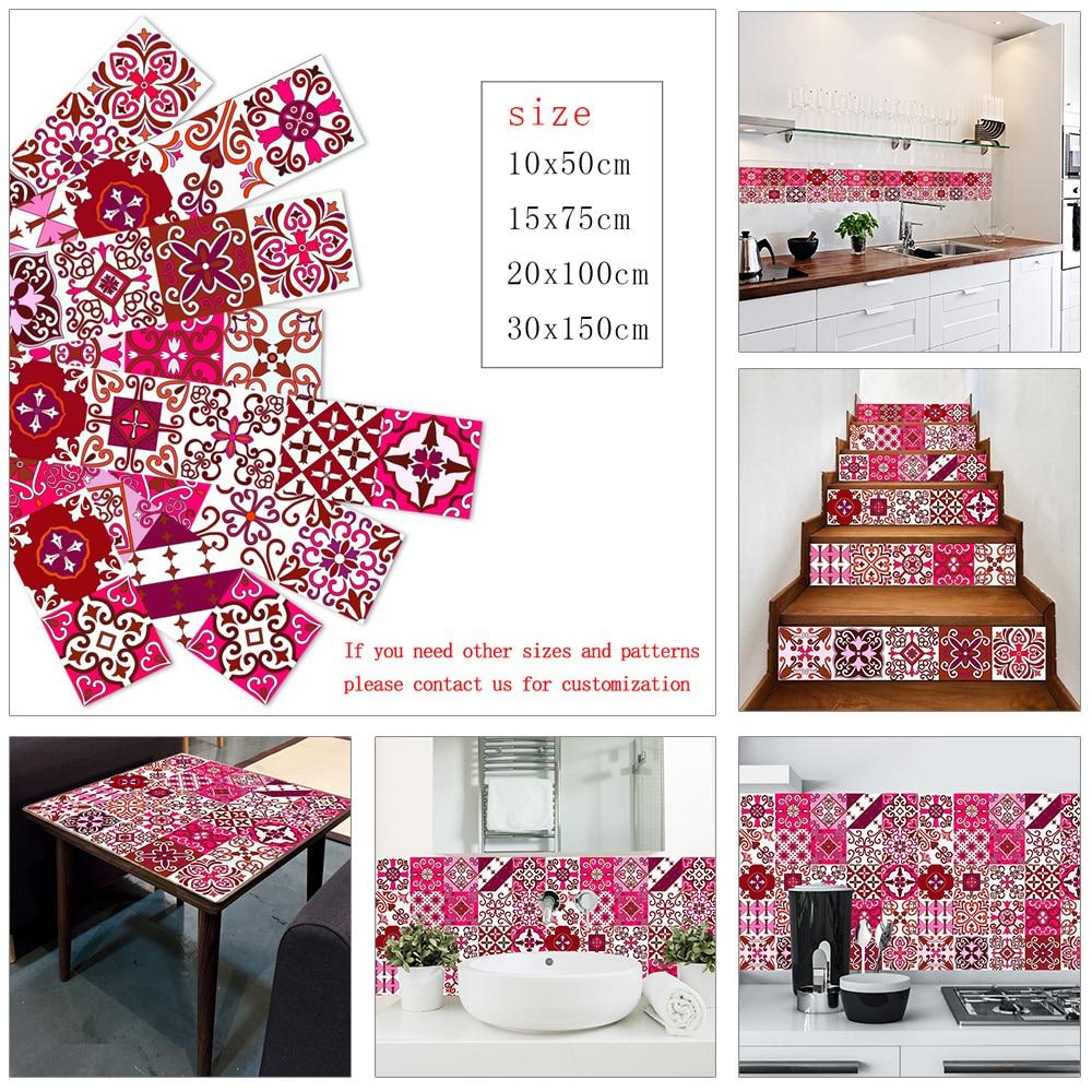 Красный элемент Полоса Керамическая плитка наклейка на стену кухня стекло Талия обои домашний Декор водонепроницаемый винил DIY художестве...