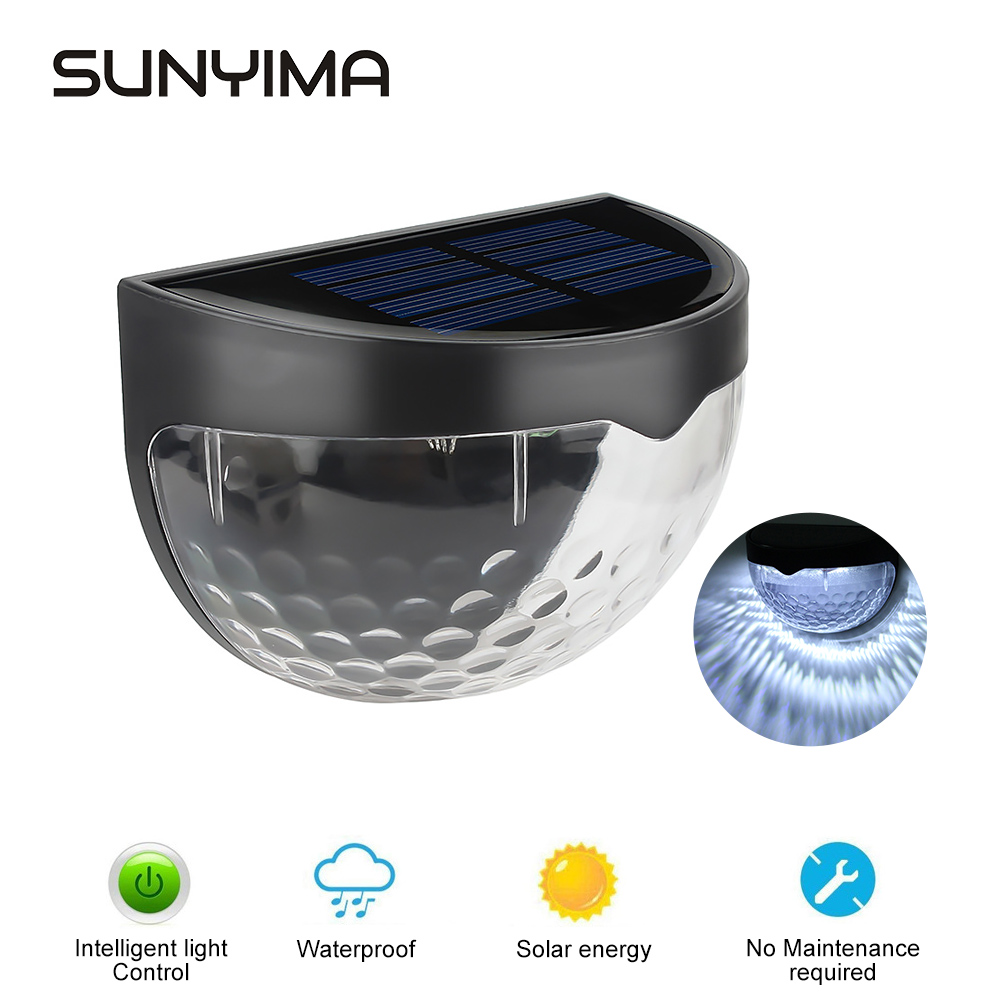 SUNYIMA LED Solar Light Waterproof Outdoor Garden Wall Light 6 LEDs Solar Power Light Sensor Pathway Garden Patio Fence Lamp