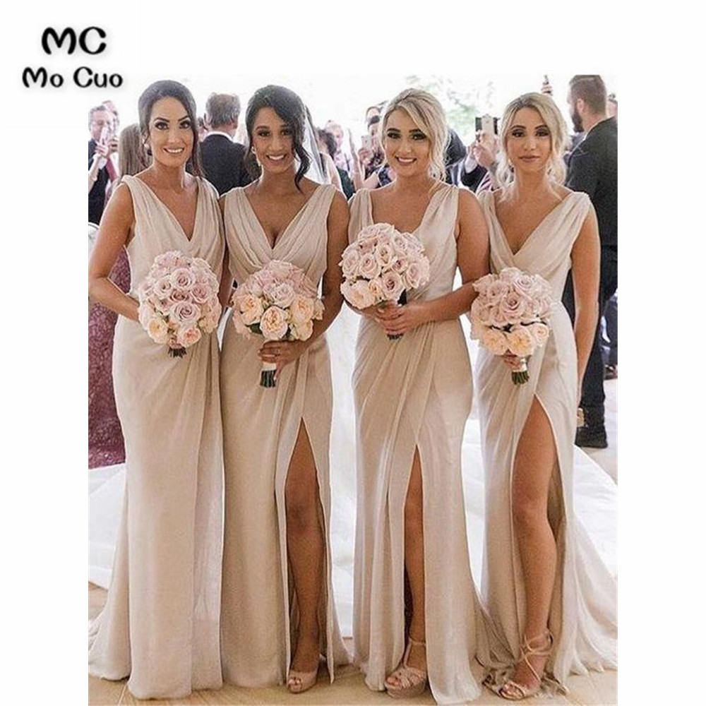 New Long Bridesmaid Dresses In Stock Wedding Party Dress Pleat Sleeveless Front Slit Chiffon Prom Bridesmaid Dresses For Women