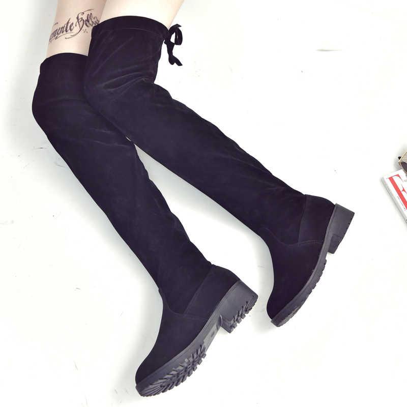 2020 das mulheres botas de outono e inverno nova sobre o joelho botas minimalista e elegante botas de conforto mais algodão Rebanho plana