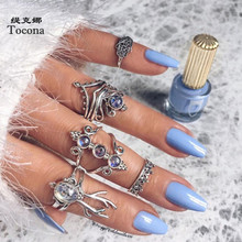 Tocona 6pcs/sets Vintage Silver Color Rings for Women Blue Opal Stone Crown Animal Hand Hollow Carve Geometry Jewelry  9537