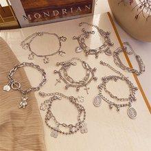 EN gothique – Bracelet de cheville de couleur argent pour hommes et femmes, chaîne de cheville, pièce de monnaie EN forme de cœur, bijoux de pied