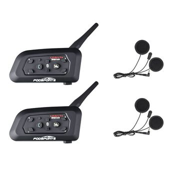 Fodsports 2 pcs V6 Pro Motorcycle helmet bluetooth headset Intercom 6 Riders Moto Waterproof BT Interphone for full face - discount item  38% OFF Motorcycle Accessories