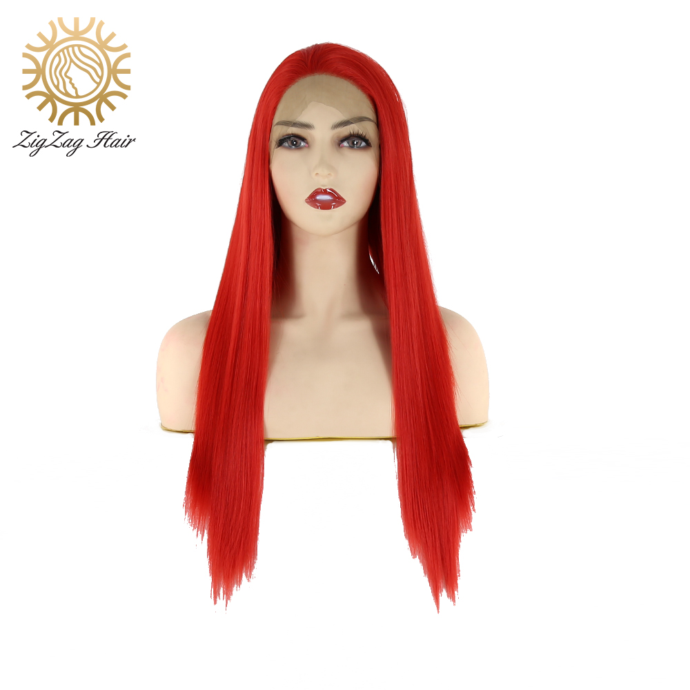 ZigZag Red Color Straight Cosplay Wig Middle Part Long Synthetic Lace Front Wigs For Women High Temperature Fiber Daily Wear