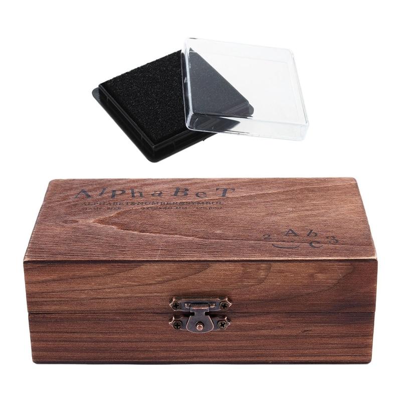 1 Pcs Stamp Pad Ink Pad Wedding Letter Document Black & 1 Set Rubber Stamp Alphabet Number Symbol Wooden Box Set