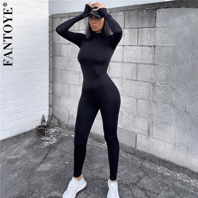 FANTOYE Sexy Skinny Long Jumpsuit Women Black High Waist Bodycon Overalls For Women Elastic Jumpsuit And Rompers 2020 Streetwear