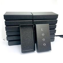 Черные подарочные коробки для ювелирных изделий под заказ с логотипом для ожерелья, серег, браслета, брелока, принимаются заказы на прямую п...