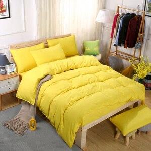 Image 3 - Conjunto de cama minimalista, jogo de cama de tinta azul e com fronha, fronha cinza, confortável e macia, queen, para o verão completo