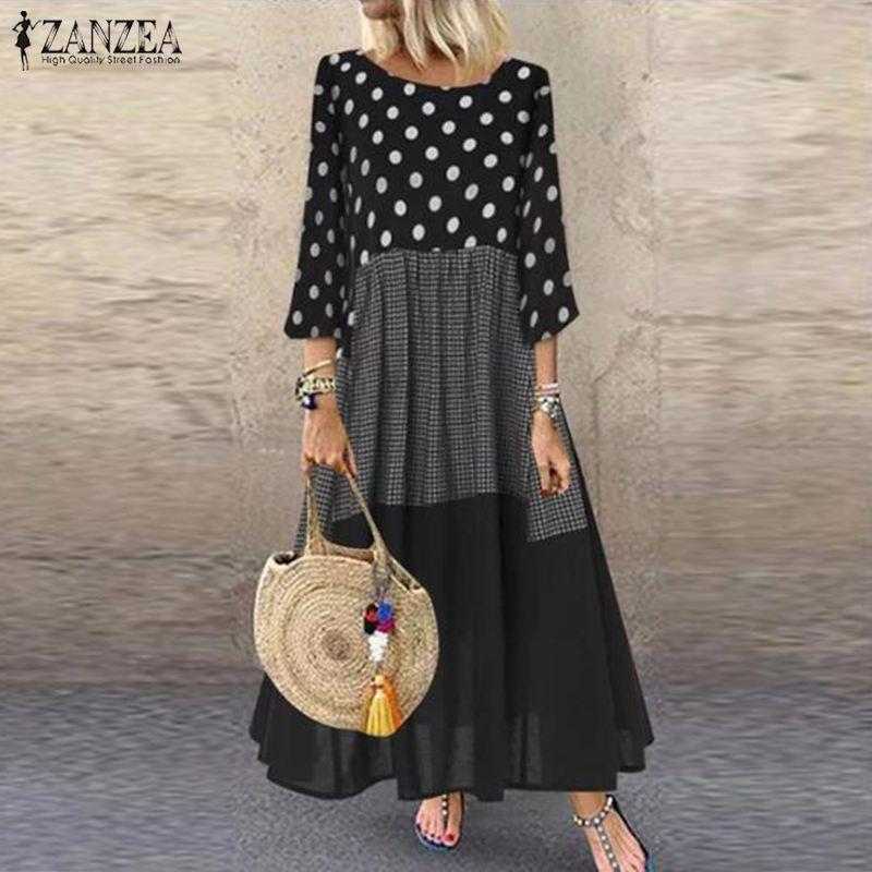 Autumn Vintage Polka Dot Pacthwork Dress ZANZEA 2020 Women Casual Shirt Vestidos Cotton Long Sundress Femme Tunic Robe Kaftan