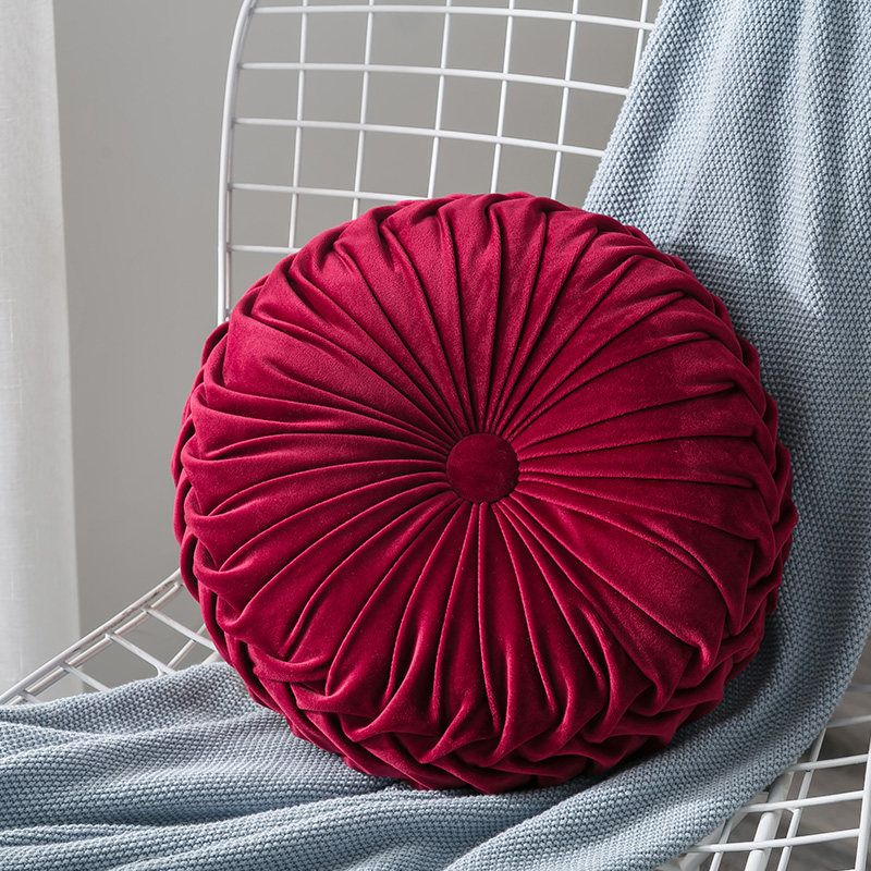 Newest-Home-Textile-Velvet-Pleated-Round-Solid-Color-Cushion-Pouf-Throw-Home-Soft-Cushion 8
