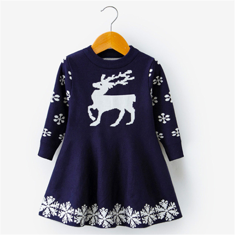 H4e1cc29336854e5da2dcb1dd48ce5f3aw Kids Dresses For Girls Long Sleeve Deer Snowflake Print Dress New Year Costume Princess Dress Kids Christmas Clothes Vestidos