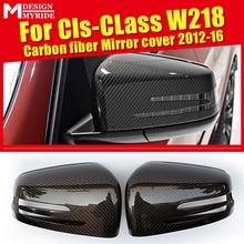 GLS W218 Wing Door Mirror Cover Carbon fiber black 2 pcs For Mercedes GLS350 GLS400 500 GLS63AMG look 1:1 Replacement 2012-2016