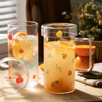 Tazza di vetro creativa con impugnatura tazze da insalata per colazione in stile breve carino grande capacità 500ML tazze stampate con frutta tazza per bevande fredde