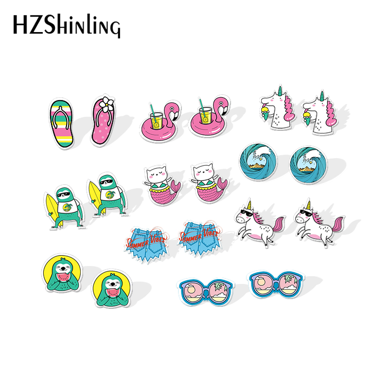 2020 New Hello Summer Stud Earring Funny Sloth Acrylic Earring Handmade Jewelry Epoxy Shrinky Dinks Resin Earrings