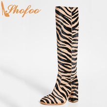 Zebra Print High Chunky Heels Round Toe Knee Long Boots Ladies Winter Warm Large Size 11 15 Slip On Fashion Women Shoes Shofoo(China)