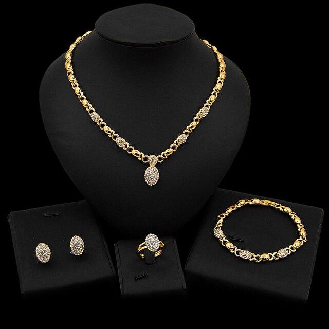 Conjunto de joyería en forma de O de cristal para boda, collar, pendientes, pulsera, anillo, Color dorado, de alta calidad, novedad, venta al por mayor 6
