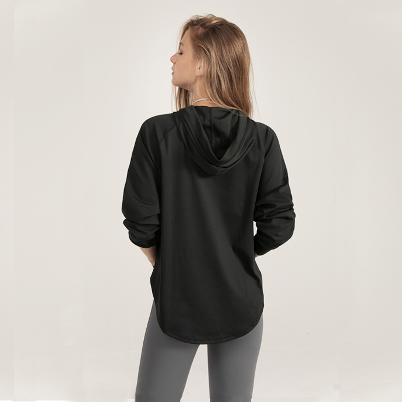 Women's Loose Hooded Quick-drying Sports Spring And Autumn Long-Sleeved Running Fitness Clothes  Sweater Blouse Shirt Women