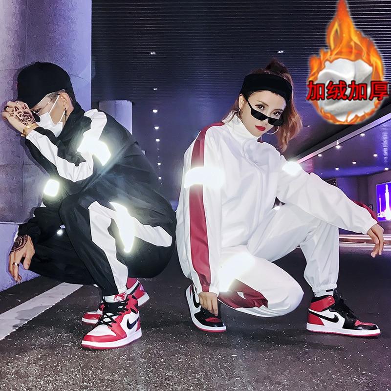INS Super Fire Douyin Celebrity Style Plus Velvet Sports Reflective Set Men And Women Hong Kong Style Jacket Couples Hip Hop Cas