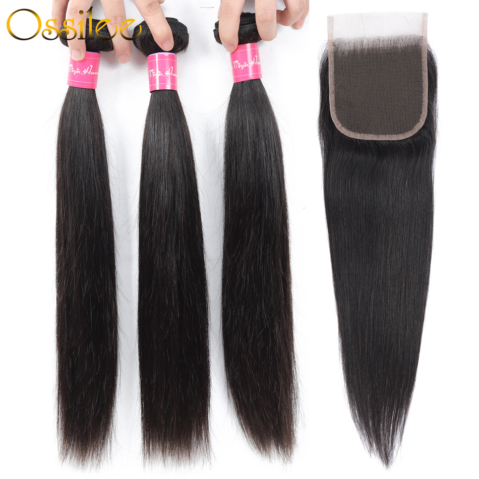 Ossilee Straight Hair Bundles With Closure Peruvian Hair Bundles Human Hair 4 Bundles With Closure Remy Hair
