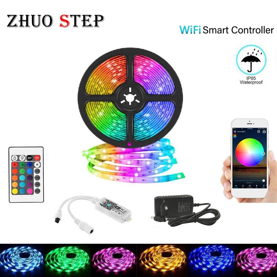 Wifi LED bande lumineuse 10M 5M SMD diode LED ruban ruban RGB 2835 5050 LED étanche et télécommande avec adaptateur