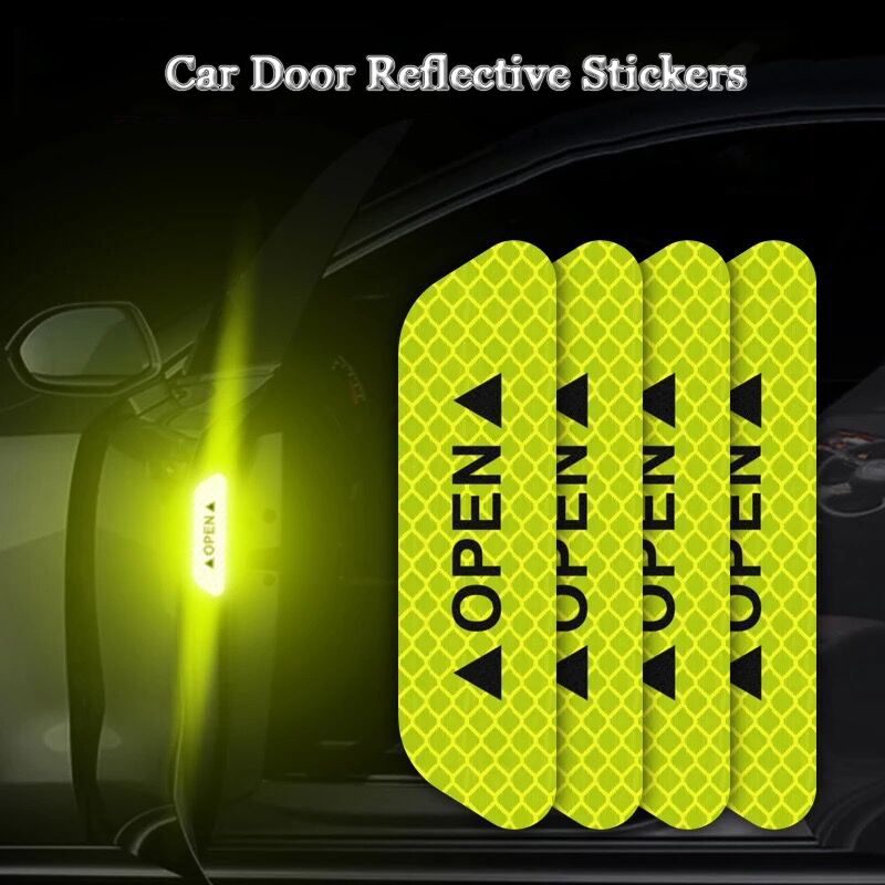 Car-styling OPEN Car Door Stickers Warning Mark Reflective Tape Sign Safety Reflective Strip Light Reflectors Auto Accessories