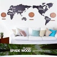 3d large world map wall sticker wall clock Nordic DIY home watch clock living room 3D acrylic decorative wood hanging clock