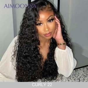 Image 1 - Прозрачный кружевной парик, кудрявые волосы 360, фронтальная кружевная часть, предварительно отобранные волосы, бразильские передние человеческие волосы, парики Aimoonsa Remy