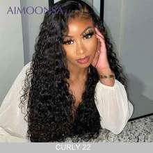 Perruque Lace Frontal Wig 360 naturelle Remy Aimoonsa, cheveux brésiliens Remy, cheveux bouclés, pre plucked, avec Baby Hair
