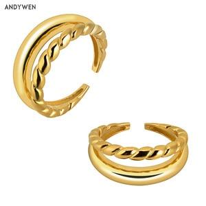 ANDYWEN 925 пробы Серебряное двойное регулируемое кольцо с изменяемым размером 2020, Двухрядное открытое регулируемое круглое кольцо для женщин в...