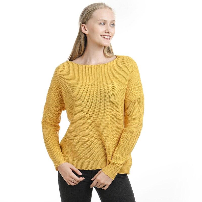 Женский свитер осень зима новый однотонный базовый свитер с длинным рукавом с вырезом лодочкой модный Свободный Harajuku тонкий свитер