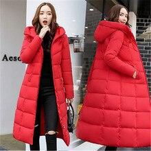 가을 겨울 자켓 여성 긴 후드 웜 오버 코트 여성 다운 재킷 2019 패션 플러스 사이즈 6xl 솔리드 컬러 파카 코트
