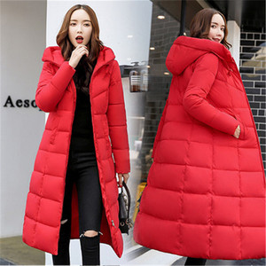 Image 1 - Autumn Winter Jacket Women Long Hooded Warm Overcoat Womens Down Jackets 2019 Fashion Plus Size 6XL Solid Color Parka Coat