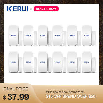 Wholesales 12PCS Kerui D025 Home Wireless Door Window Detector Gap Sensor For Home Alarm System Touch Keypad Battery Included - Category 🛒 Security & Protection
